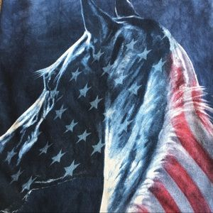 The Mountain Patriotic Acid Wash Horse Themed Tee